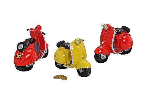 Wurm 1 x wunderschöne Spardose,Sparbüchse Motorrad ,Motorroller in rot oder gelb mit Pfropfen