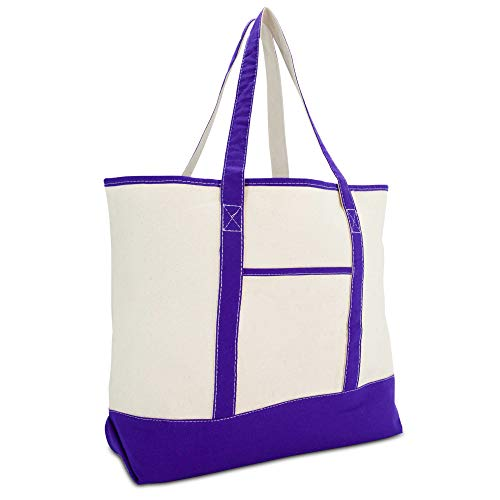 DALIX 22' Extra Large Shopping Tote Bag w Outer Pocket in Purple and Natural