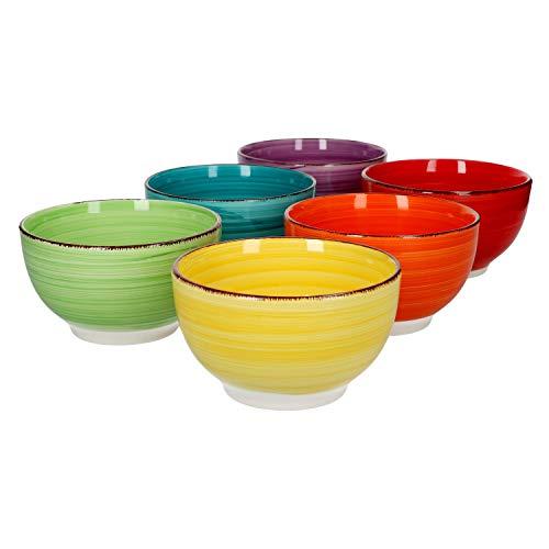 Ensemble de 6 bols à céréales Bol de service uni coloré 650 ml Bol à dessert en grès plats glaces salades de fruits snacks petit-déjeuner buffet