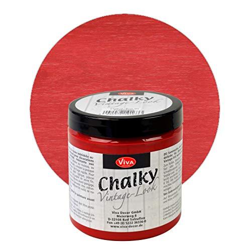 Viva Decor® Chalky Vintage-Look (Ziegelrot, 250ml) dekorative Lasur - Vintage Kreidefarbe für Shabby Chic - Chalk Paint für Innen und Außen - Made in Germany