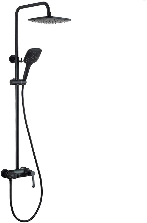 RENKK Duschset mit DREI Funktionen, schwarz, mit Regendusche und Handbrause für das Badezimmer