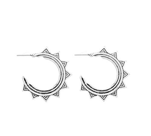 Aztec Geometric Antique Brushed Silver Boho Chic Hoop Earrings
