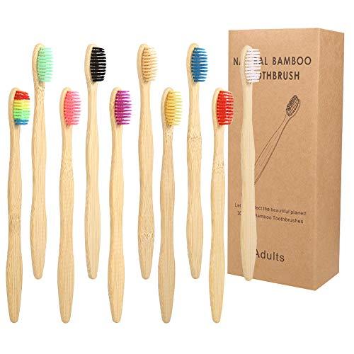 Veraing Bambus Zahnbürsten, Holzzahnbürste Zahnbürste BPA freie Weiche Borsten Biologisch Abbaubar Umweltfreundlicher Packung Für Kinder und Erwachsene(10 Pack)