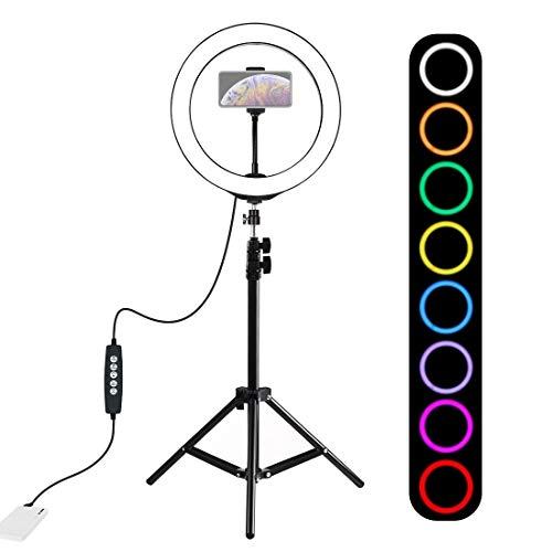 RUNNA 1,1 m Montaje de trípode Kits + 10 Pulgadas 26cm Anillo RGBW LED de luz de vídeo Vlogging la emisión en Directo con la Zapata del trípode Ball Head & Teléfono Abrazadera Worry-Free Quality