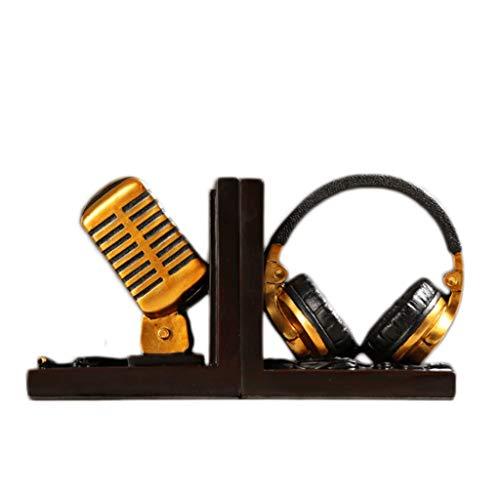 Kreative Buchstützen Mikrofonbuch von The Bedroom Office Arbeitszimmer Bücherregal Buchstütze Bücherständer Dekoration Basteln Geschenk gold