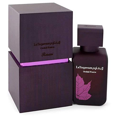 La Yuqawam Orchid Prairie EDP (Eau de Parfum) para mulheres 75 ML (2,5 oz)   Elegante Pour Femme spray   Pura Oud temperado até com almíscar e baunilha   Assinatura Arabian Perfumaria   por Perfumes Rasasi