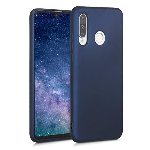 kwmobile Carcasa Compatible con Huawei P30 Lite - Funda móvil de Silicona - Protector Trasero en Azul Oscuro Metalizado