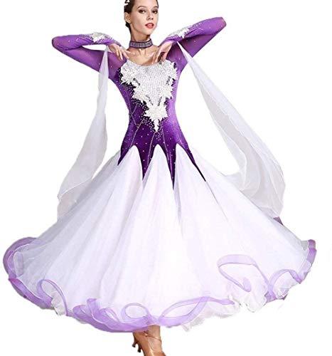 National Standard Gesellschaftstanz-Kleider for Frauen-Wettbewerb Tanzkleider Modern Dance Kleider Strass Tanzen Kostümiert Expansion Rock for Frauen Tango Walzer Kleider (Color : Violet, Size : S)