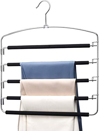 HOUSE DAY Pants Hangers 5 Layers Space Saving Pants Hangers with Stainless Steel Non-Slip Foam Padded Swing Arm Closet Storage Organizer for Pants Jeans Trousers Skirts Scarf Ties Towels 4 Pack