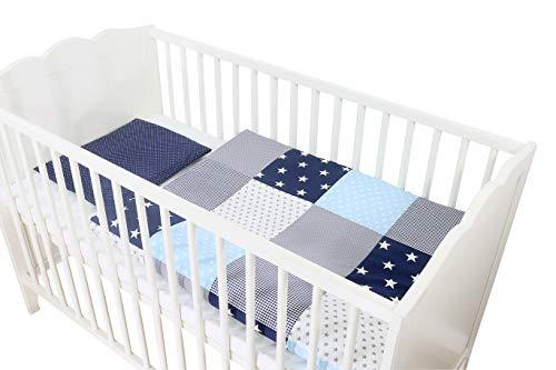 Conjunto de ropa de cuna de ULLENBOOM ® con azul claro azul gris (juego de 2 piezas para cuna: funda de almohada de 35x40 cm y funda nórdica de 80x80 cm)