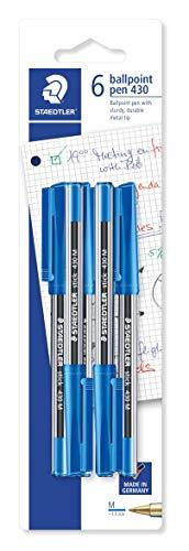 STAEDTLER 430 M3BK6 stick Kugelschreiber Linienbreite M, 0.45 mm, 6 Stück auf Blisterkarte, blau