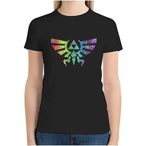 XJJ88 Zelda Totem - Camiseta de algodón para mujer (manga corta, ligera, tamaño grande) Negro Negro ( M