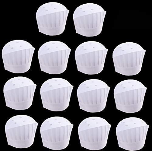 Biluer Desechables Gorros de Cocinero, 40PCS Ajustables Gorros de Chef Gorro de Cocinero de Papel Set de Sombrero de Cocina para Cocina Casera Restaurantes Ocasiones de Comida Clases y Fiestas
