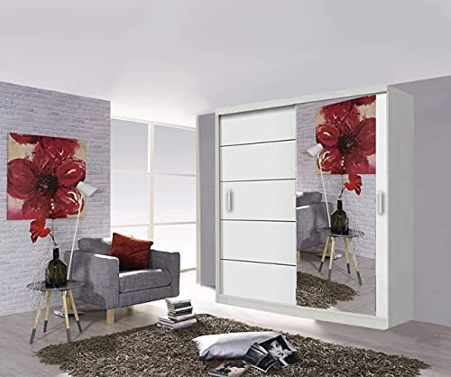 Modern Lyon - Armario para puerta corredera de 2 y 3 espejos, 5 tamaños y 4 colores (203 cm), color blanco