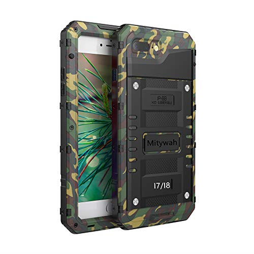 Mitywah Waterproof Case Compatible with iPhone 7 / iPhone 8 Heavy Duty Durable Metal Full Body Protective Case Built-in Screen Protection Shockproof Dustproof Rugged Military Grade Defender,Camouflage