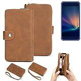 K-S-Trade® Handy-Schutz-Hülle Für -Hisense A2 Pro- Portemonnee Tasche Wallet-Case Bookstyle-Etui Braun (1x)