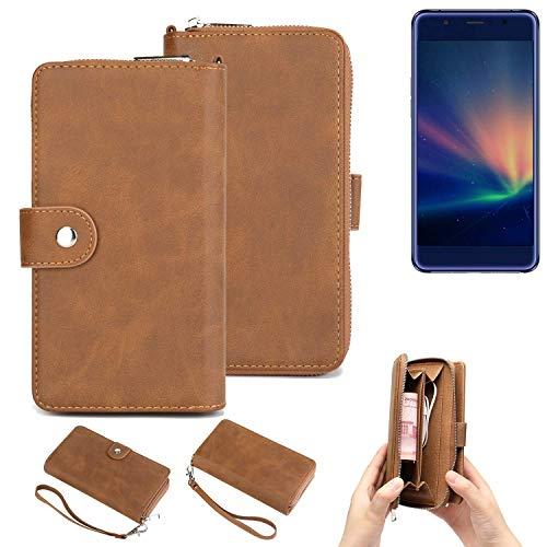 K-S-Trade® Handy-Schutz-Hülle Für Hisense A2 Pro Portemonnee Tasche Wallet-Case Bookstyle-Etui Braun (1x)