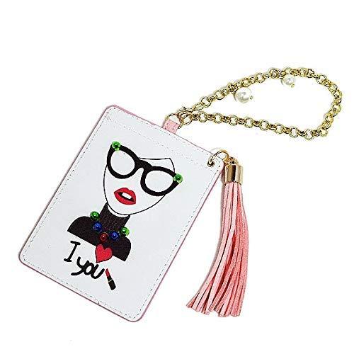 IDケース バッグチャーム IDカードケース カードケース 定期入れ パスケース IDカードホルダー LADY サングラスパスケース フリンジ付 (ホワイト