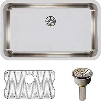Elkay ELUH2816PDBG Lustertone Classic Single Bowl Undermount Stainless Steel Sink Kit with Perfect Drain