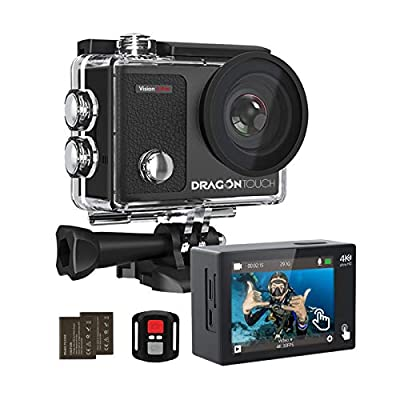 Dragon Touch 4K Action Camera Touch Screen 16MP Vision 3 Pro PC Web Camera 100 feet Waterproof Camera Adjustable View Angle WiFi Sports Camera with Remote Control and Helmet Accessories Kit from Dragon Touch