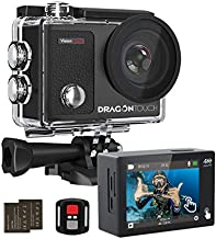 Dragon Touch 4K Action Camera Touch Screen 16MP Vision 3 Pro PC Web Camera 100 feet Waterproof Camera Adjustable View Angle WiFi Sports Camera with Remote Control and Helmet Accessories Kit