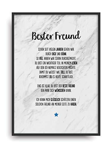 Geschenk Karte BESTER FREUND Kunstdruck Ehrentitel Kollege Auszeichnung Bild ohne Rahmen DIN A4