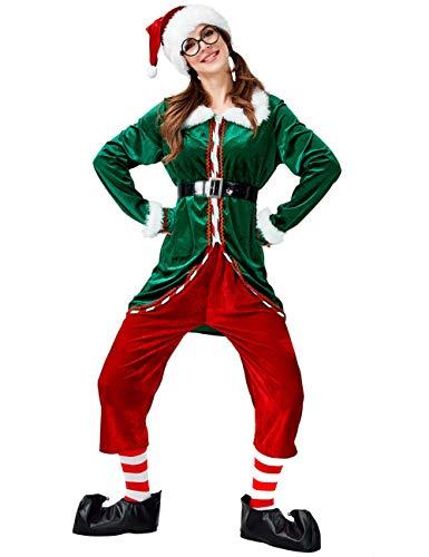 GRACIN Disfraz de Elfo de Navidad Unisex, 6 Piezas, Color Verde, Ayuda de Pap Noel, Cosplay, Terciopelo para Adultos - Verde - XL