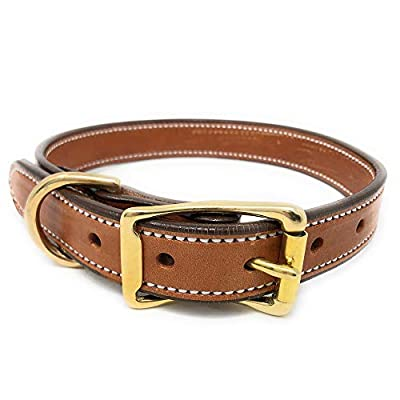 """Regal Dog Products Genuine London Tan Leather Dog Collar   Adjustable Dog Collar with Durable Metal Buckle and D Ring   Soft Leather Dog Collar for Small, Medium, and Large Dogs (London Tan, 23"""")"""