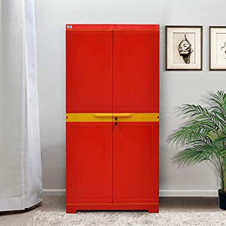 Nemi Agency Nilkamal Freedom Plastic Storage Cabinet Red , 2 Doors