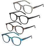 ZENOTTIC Confezione da 4 occhiali da lettura rotondi con blocco della luce blu, occhiali da lettura per computer da donna/uomo