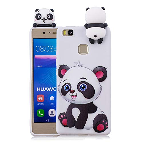 HongYong Funda Silicona 3D para Huawei P9 Lite Case Dibujo Panda Blanco Carcasas y Fundas para móviles Suave Flexible Delgado Bumper Diseño Animados Linda Caso Blando Bonitas