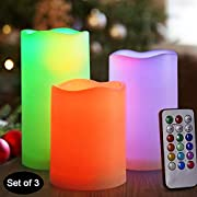 HOME MOST Flickering Real Wax Flameless LED Pillar Candles with Remote Multi Colored - Unscented Battery Operated Pillar Candles Bulk - Color Changing Candles