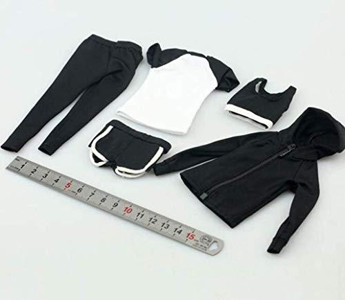 Kleding Model 1/6 Vrouwelijke Soldaat Kleding Yoga Draag Fitness Pak Set Zwart 5-delig Model voor 12-Inch Action Figuur