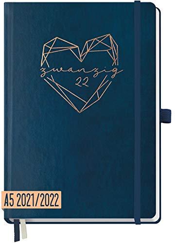 Chäff - Agenda semanal 2021/2022 A5 color azul nocturno, agenda de 18 meses: julio de 21 a diciembre de 22, planificador semanal, agenda semanal, organizador de notas