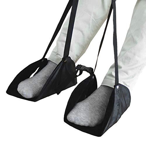Yissma Voetsteun hangmat, voethangmat, vliegtuig, reis-voetensteun, bureau hangstoel voor reizen, auto en kantoor (zwart)