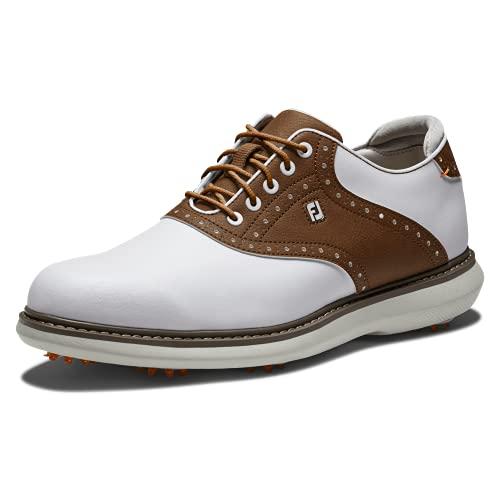 FootJoy Traditions, Zapatos de Golf Hombre, Blanco/Tan, 43 EU