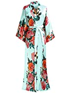 """Size: One size, 135cm/53inches long, fits up to 48""""/122cm at chest and hip; Fabric: Super soft and comfortable Polyester. Long style luxury printed flowers, V-Neck ladies kimono dressing gown up to ankle with sash tie closure, belt loops and inside t..."""
