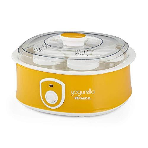 Ariete Yogurtera 617 de 1.3 litros, 7 tarros de cristal, tapa transparente, botón encendido apagado, compacta, 12 horas preparación, color amarillo blanco