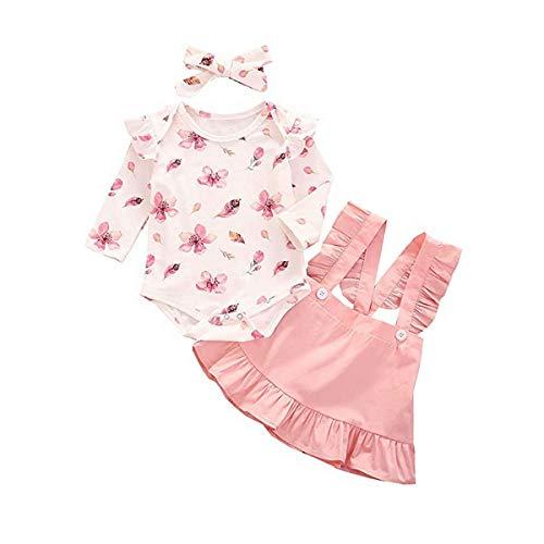 T TALENTBABY Neugeborenes Baby Mädchen Langarm Kleidung Outfit Set 3 Stück Rüschen Druck T-Shirt Top + Rüschen Hosenträger Rock + Schleife Stirnband für 0-24 Monate alt, weiß rosa, 6-12 Monate