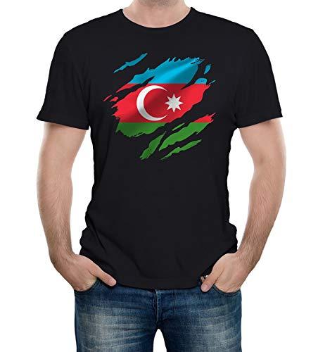 Reality Glitch Herren Torn Azerbaijan Flag T-Shirt (Schwarz, Klein)