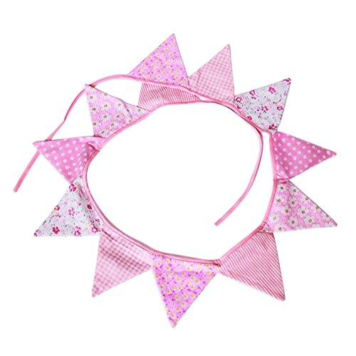 Gysad Pequeño fresco Banderines de tela Tela de algodón Banderines decorativos Creativo Decoracion hogar size 270cm (Rosa)