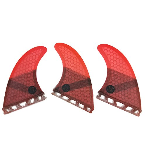 UPSURF Tabla de surf FUTURE Aletas Base Fibra de Vidrio Tabla de Surf Aletas Tri Fin Thruster Set Tener Panal (Red G5)