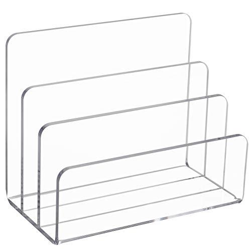 Display4top Briefhalter aus klarem Acryl,3 Fächer Ordnungssystem, Prospektständer,Schreibtisch Organizer