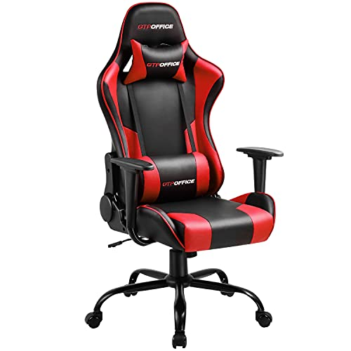 Gaming Chair Massage Office Chair High Back Computer Chair Leather Desk Chair Racing Executive Ergonomic Adjustable Swivel Task Chair with Headrest and Lumbar Support,Red