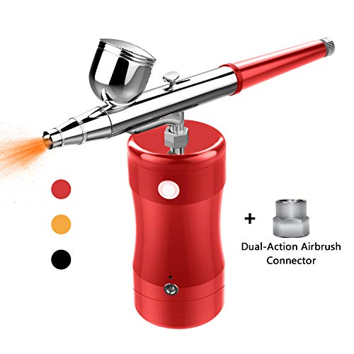 COSSCCI Upgraded Airbrush Kit, Portable Mini Air Brush Spray Gun with Compressor Kit Single Action Air Brush Painting Kits for Cake Decorating Makeup Art Nail Model Painting Tattoo Manicure (Red)