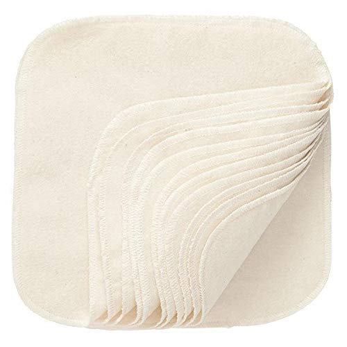 100% Cotton Washable Wipes - Natural -12 count...
