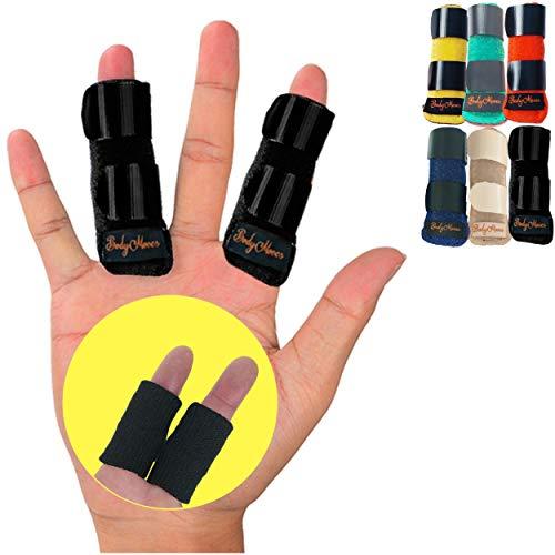 BodyMoves 2 Finger Splints Plus 2 Sleeves for Trigger Mallet Broken Finger Brace Joint Support for Men and Women- Ideal for Seniors (4 pc Set, Midnight Black)