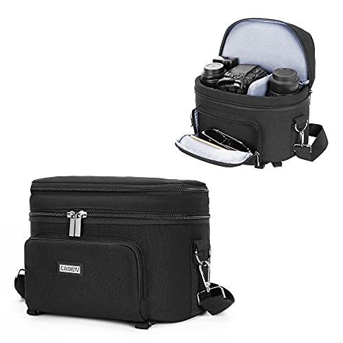 CADeN Camera Bag Shoulder for DSLR/SLR Mirrorless Camera Waterproof, Camera Case Compatible for Nikon Canon Sony with Tripod Holder Black