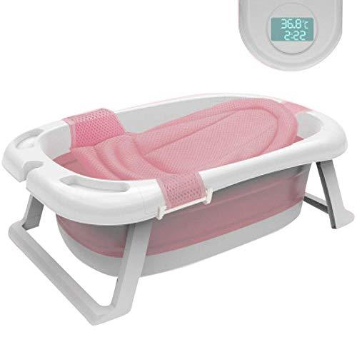 XUDREZ ベビーバス 折りたたみバケツ 赤ちゃん浴槽 安全素材 湯温計付き キッズ 新生儿 風呂桶 バスタブ ソフトタブ バスプール たらい 滑り止め設計 収納容易 (ピンク4)