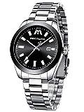 MEGALITH Herrenuhr Männer Schwarz wasserdichte Analog Leuchtend Datum Einfache Silber Edelstahl Armbanduhr Business Moderne Quarzwerk Uhren